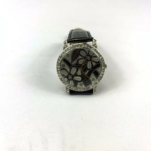 Womens watch large face floral w/stones leather